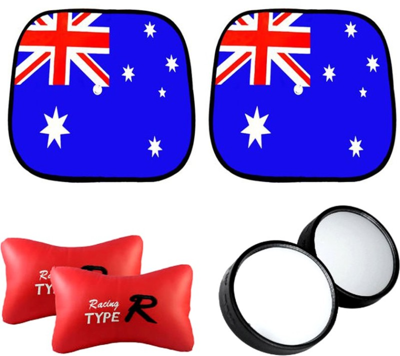 AutoKraftZ Car Sunshade australian Flag design Set Of 2, Blind Spot Mirror, Type R Red Combo