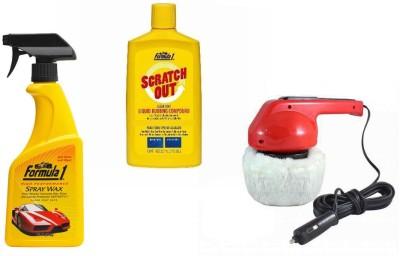 Coido 1 Car Polisher, 1 Formula 1 Spray Wax Polish, 1 Formula 1 Rubbing Compound Combo