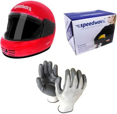 Speedwav 1 Full Face Bike Riding Helmet-Red, 1 Accedre Riding Gloves-White Combo