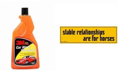 3M 1 Car Bumper Sticker-Stable Relationships, 1 Premium Shampoo 500ml Combo