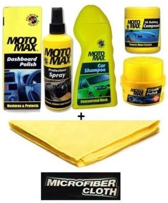 MotoMax 1 Car Dashboard Polish, 1 Protectant Spray, 1 Shampoo, 1 Exterior 2k Scratch Remover Rubbing Compound, 1 Cream Polish, 1 Micofiber Cloth, Car kit Combo