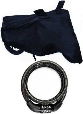 Onlinemart 1 Black Bike Body Cover, 1 Helmet Lock Combo