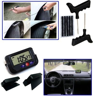 Auto Pearl 1Pcs Tubeless Tyre / Tire Puncture Kit, 1Pcs Dash Board Clock Combo