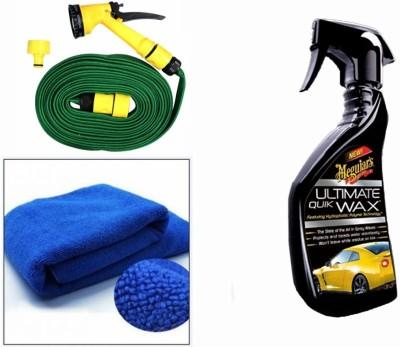 Meguiar's 1 Meguiars Ultimate Quick Wax Wash-450ml, 1 Microfiber Cloth, 1 Spray Gun, 1 Spray Gun Combo