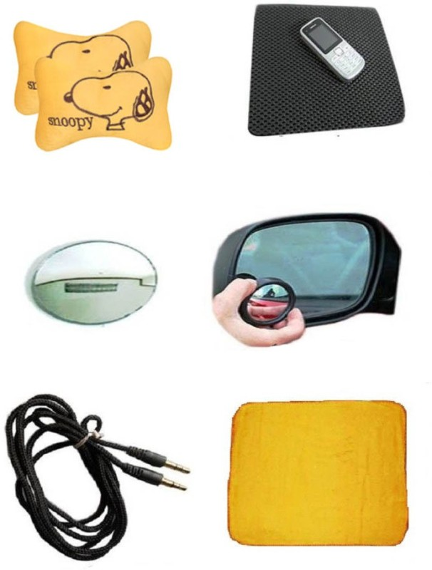 AutoKraftZ Neck Cushion, Non Slip Mat, Blind Spot Mirror, Aux Cable, Micro Fiber Duster Combo