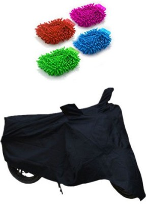 Retina 1x Universal Honda Activa Black Bike Cover, 4x Microfiber Vehicle Washing Hand Gloves Combo