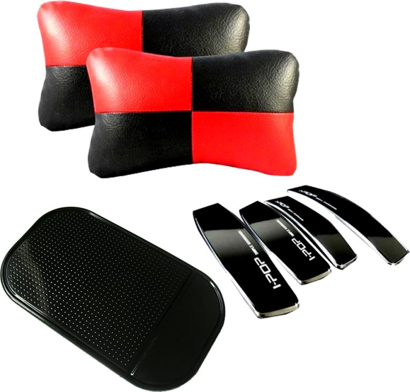 AutoKraftZ Red & Black Neck cushion, I-pop Black door Guard, Spider Black Non slip Mat Combo