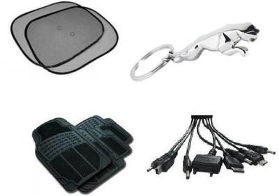 Speedwav 1 Combo Of Car Sun Shade, 1 Jaguar Keychain, 1 Car Floor / Foot Mats, 1 Car Charger Combo