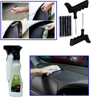 Auto Pearl 1Pcs Tubeless Tyre / Tire Puncture Kit, 1Pcs 200ml Car Polish Spray Combo