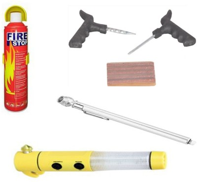 Canabee 1 Tyre Puncture kit, 1 Tyre Gauge, 1 Emergency Light, 1 Fire Extinguisher Combo