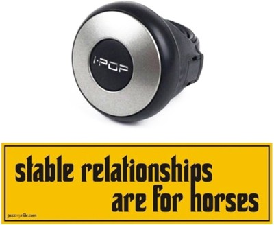 I-Pop 1 Car Bumper Sticker-Stable Relationships, 1 Steering Knob-Silver Combo