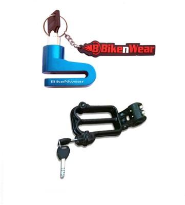 BikeNwear 1 Disc Brake Lock-Blue, 1 Helmet Lock-Black Combo