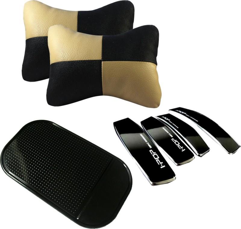 AutoKraftZ Beige & Black Neck cushion, I-pop Black door Guard, Spider Black Non slip Mat Combo