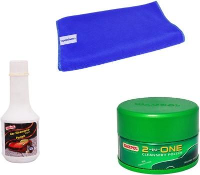 Waxpol 1 Waxpol 2in1 Cleaner Cum Polish 250gms, 1 Waxpol Shampoo 200ml, 1 Microfiber Cloth Combo