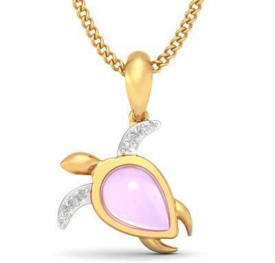BlueStone The Snorkelling Tortoise For Kids 18kt Diamond, Amethyst Yellow Gold Pendant