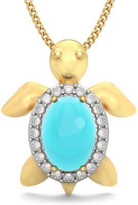BlueStone The Tawdry Turtle For Kids 18kt Diamond, Topaz Yellow Gold Pendant