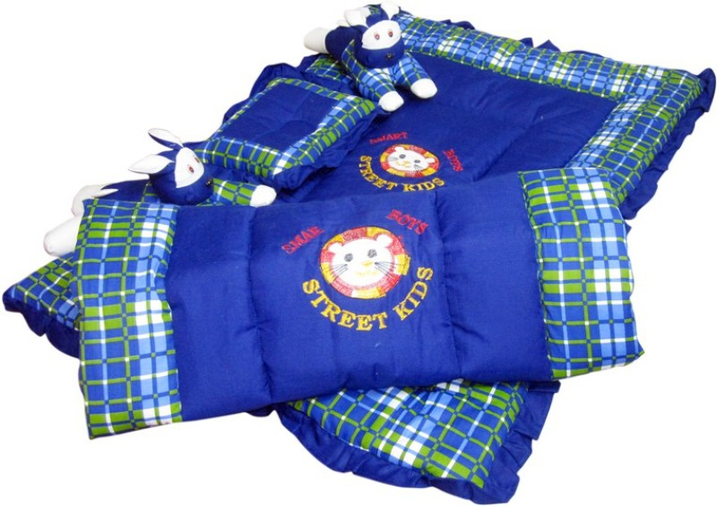 Maple Krafts Rabbit Razai Set Embroidered(Swiss Cotton, Filling :- Soft Recron Fibre, Royal Blue)