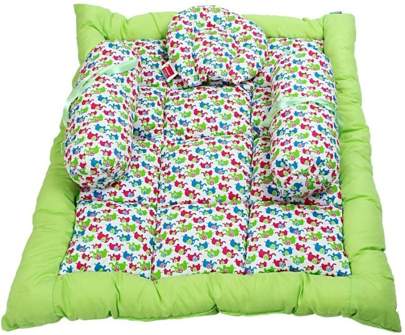 Morisons Baby Dreams Elephant Print Baby Bed Set Baby Carry Bed Mattress(Soft Cotton, Green)
