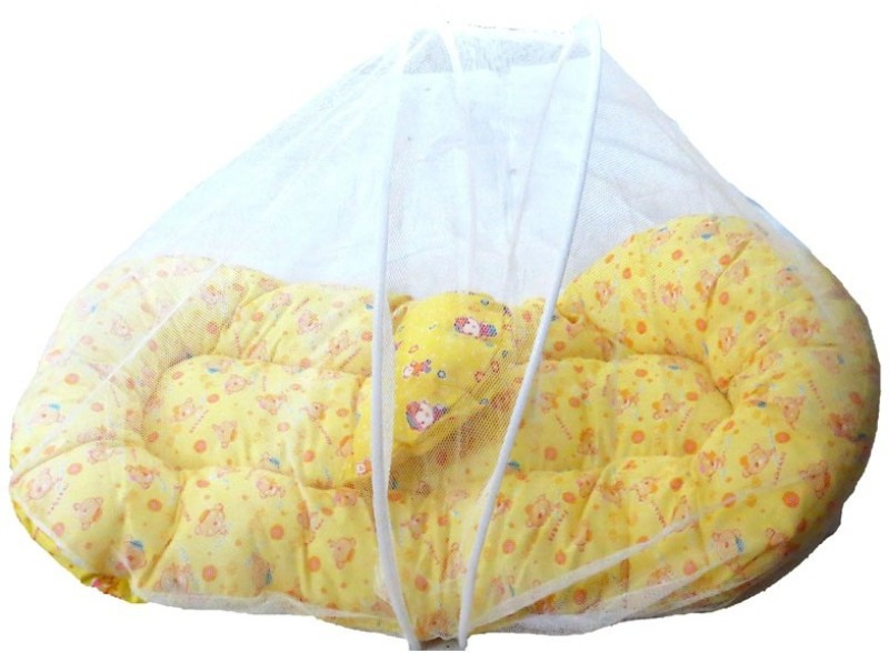 Sea Tex Cotton Made Baby Bedding Set Sleeping Bed with Foldable Mosquito Net(Cotton, Recron, Multicolor)