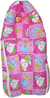 Babysid Collections Baby Hooded Travel Bed Set - Pink Bear- 27 inch width 13 inch CONVERTIBLE ALL