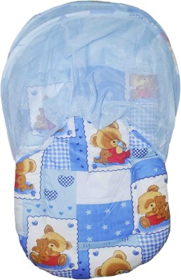 Babysid Collections Baby Bed / Matress Set with zipless Net (Blue TED)- Made in Thailand- L-84cm ,W- 45cm ,H- 40cm, 8cm thick Standard All