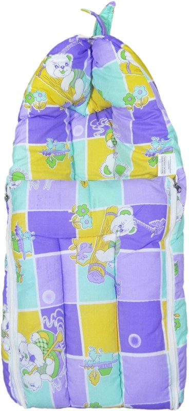 Babysid Collections Baby Hooded Travel Bed Set - Purple Cat House - 27inch Convertible All(Fibre Cotton, Multicolor)