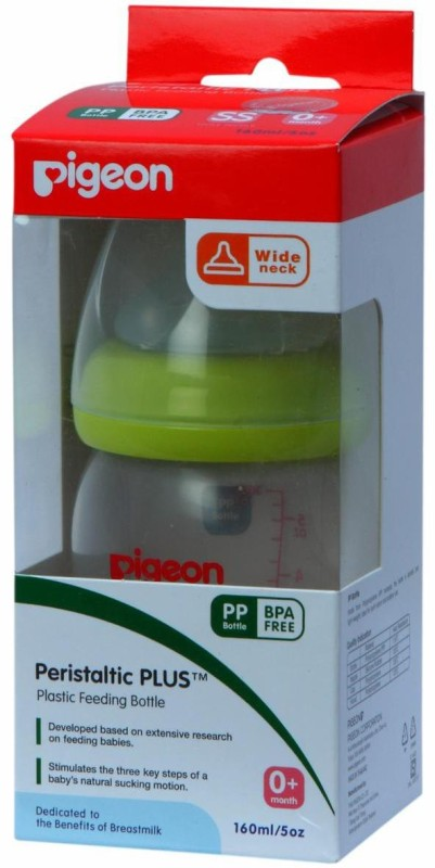 Pigeon Wide Neck Feeding Bottle (Peristaltic Plus Nipple) Round Hole Green - 160 ml(Green)