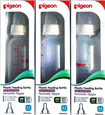 Pigeon Peristaltic Nipple BPA BPS Free-Set of 3 bottles -with bottle feeding tips leaflet - 240 ml(White)