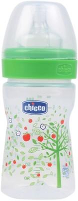 Chicco Wellbeing Regular Flow Feeding Bottle (Green) - 150 ml