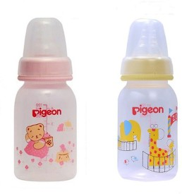 Pigeon printed Peristaltic 120ml Nursing Bottle with S Size Nipple (Pink And Yellow ) Pack of 2 - 120 ml(Pink | Yellow)