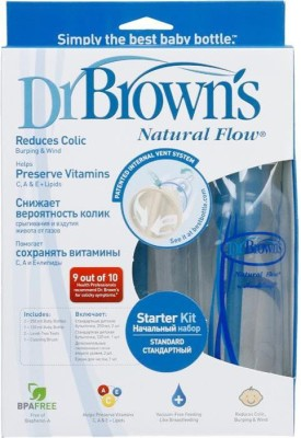 Dr Browns Natural Flow Feeding Starter Kit (Blue) - (1-4oz & 2-8oz Bot & 3-L1 2-L2 Nip)Std - 250 ml