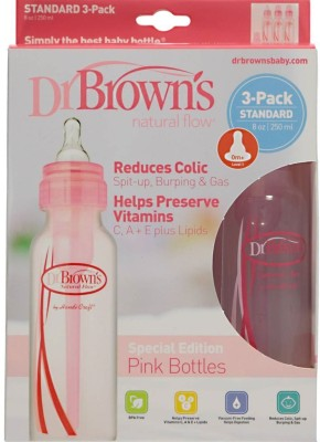 Baby Bucket Dr Browns Natural Flow Standard PINK 8oz Bottle- 3 Pack - 250 ml