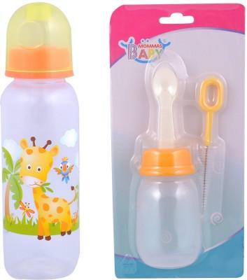 MOMMAS BABY Combo Of 2pcs Feeding Bottle 225ml / Cereal Feeder - 180 ml