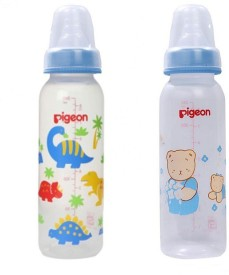 Pigeon printed Peristaltic 240ml Nursing Bottle with L Size Nipple (Blue ) Pack of 2 - 240 ml(Blue)
