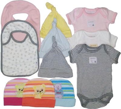 Sonpra New Born Baby Bibs Caps Bodysuits Organic Soft Cotton Combo
