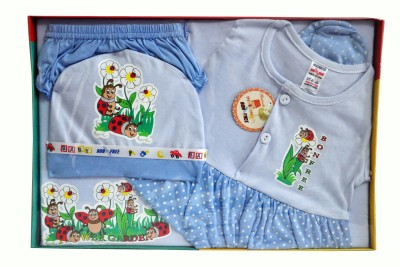 Bonfree BelleGirl 100% Cotton New Born Gift Set of 5 Pcs for Girl Blue 0-3M