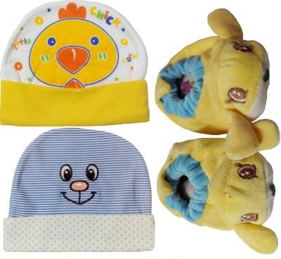 Kerokid Caps Booties Premium Cotton Kids Combo Set - (0-6 Month)