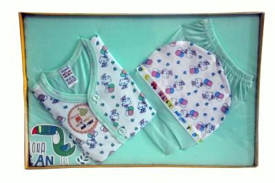 Bonfree BelleGirl 100% Cotton New Born Gift Set of 4 Pcs Premium Green 0-3M