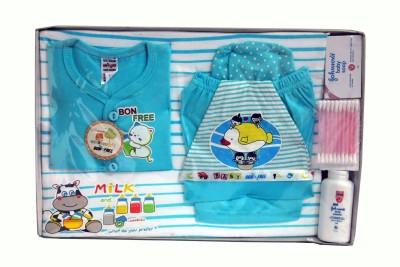 Bonfree BelleGirl 100% Cotton New Born Gift Set of 8 Pcs Blue 0-3M