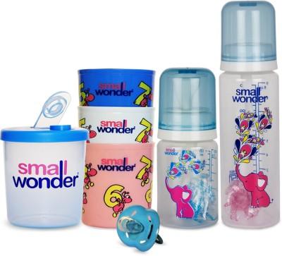 Small Wonder Pure Blue Set of 5 - Pure 125ml & 250ml Blue PP Bottle, 300ml Polypropylene Feeding Glasses set of 3, LSR Soother Blue, 300ml Polypropylene Milk Powder Dispenser Blue