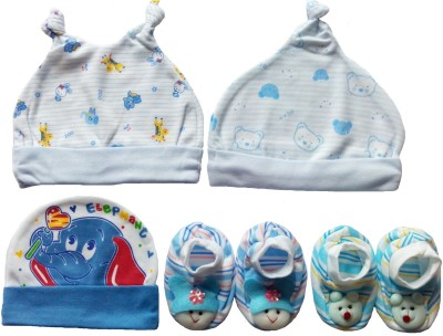 Kerokid Cutee Blue Caps & Booties Baby Care Combo Set