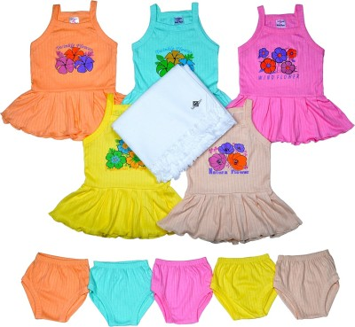 Sathiyas Baby GIrls Dresses with Baby Towel(Multicolor)