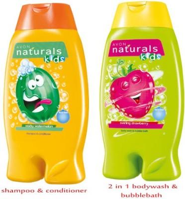 Avon Naturals Kids Shampoo & Conditioner – Wacky Watermelon (200 ml) + 2-in-1 Body Wash & Bubble Bath – Swirling Strawberry (200 ml)