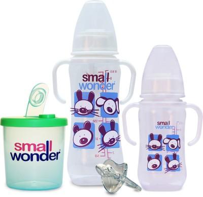 Small Wonder Clear Set of 4 - BPA Free Clear 125ml & 250ml PP Bottle, Orthodontic LSR Pacifier & 300ml Milk Powder Dispenser