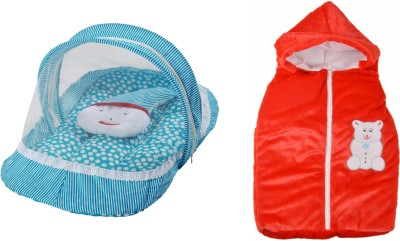 Royal Shri Om Combo Of Baby Sleeping Bed & Pillow With Mosquito Net And Baby Wrapper