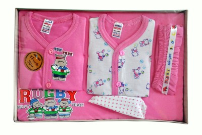 Bonfree BelleGirl 100% Cotton New Born Gift Set of 5 Pcs Pink 0-3M