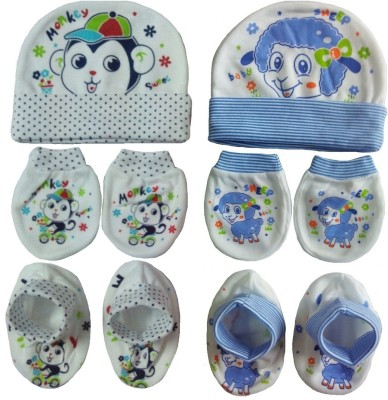Sonpra New Born Baby Cotton Caps Booties Mittens Combo Set (0-3 Month)
