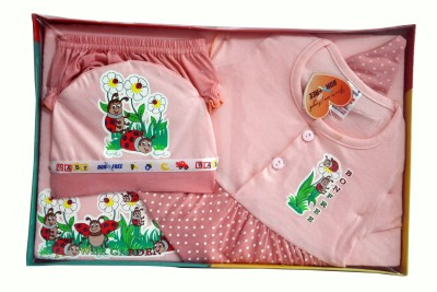 Bonfree BelleGirl 100% Cotton New Born Gift Set of 5 Pcs for Girl Green 0-3M