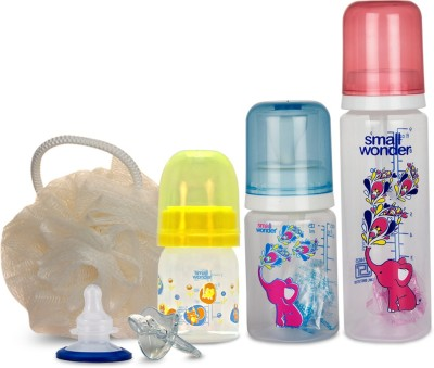 Small Wonder Pure Plus Set of 6 - Pure Plus 125ml Red & 250ml Blue PP Bottle, Admire 60ml PP Bottle, Orthodontic LSR Paciefier, Breast Shield, Body Scrub Loofah Cream