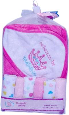 Little's Baby pink Bath Cap Towel with pack of 6 handkerchief